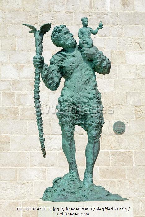 Statue of Sveti Kristofor, Saint Christophorus, courtyard of St. Mary's Cathedral, Rab Town, Rab, Primorje-Gorski Kotar County, Croatia, Europe