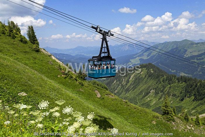 Gondola of the cable car to the Walmendinger Horn, Mittelberg, Kleinwalsertal, Vorarlberg, Austria, Europe