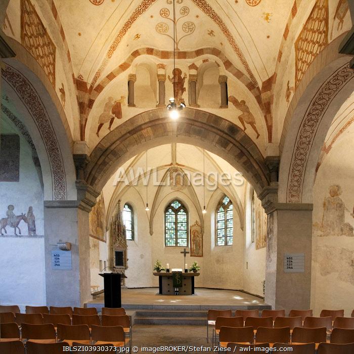 Stiepel village church, interior, Bochum, Ruhr district, North Rhine-Westphalia, Germany, Europe