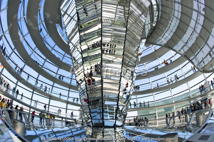 Interior view, dome of the Reichstag building, architect Sir Norman Foster, Germany, Berlin, Europe