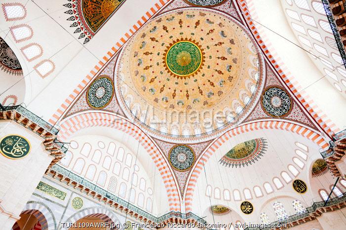 Suleymaniye Mosque, interior details. Istanbul, Turkey