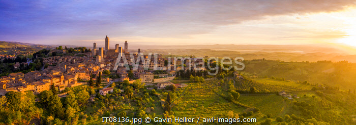 Italy, Tuscany, Val d'Elsa. Panoramic aerial view of the medieval village of San Gimignano, a Unesco World Heritage Site