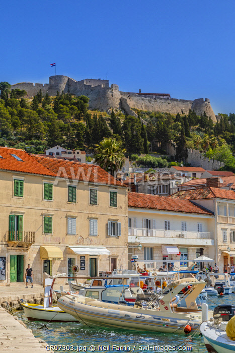 Hvar Fortress, Hvar Town and Harbour, Hvar, Dalmatian Coast, Croatia, Europe