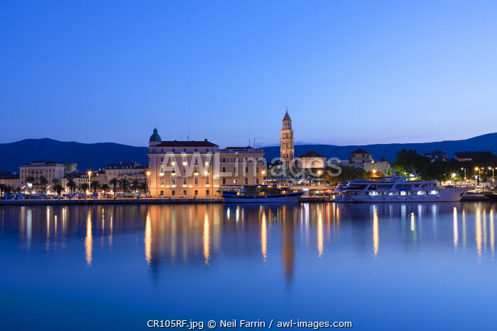 Split Harbour with Cathedral of Saint Domnius, Split, Dalmatian Coast, Croatia, Europe