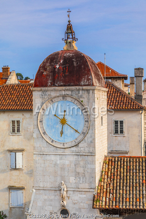 Loggia and Clock Tower, Trogir, Dalmatian Coast, Croatia, Europe