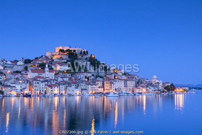 St. Michael's Fortress and Sibenik Harbour, Sibenik, Dalmatian Coast, Croatia