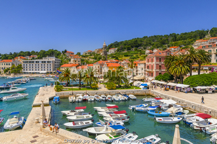 Hvar Town and Harbour, Hvar, Dalmatian Coast, Croatia, Europe