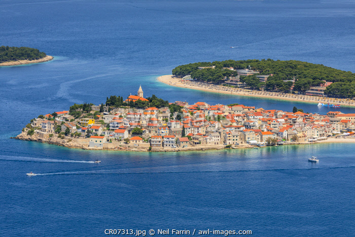 An Elevated View of Primosten, Croatia, Dalmatian Coast, Europe