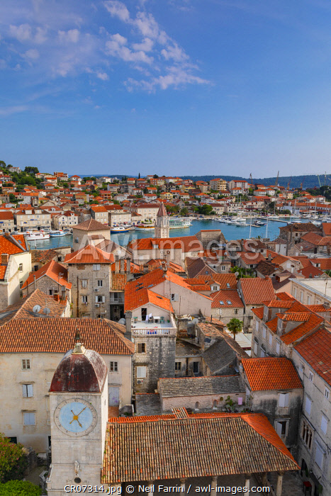 Elevated View Over Trogir, Trogir, Dalmatian Coast, Croatia, Europe