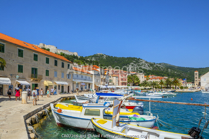 Hvar Fortress, Hvar Town and Harbour, Hvar, Dalmatian Coast, Croatia, Europe