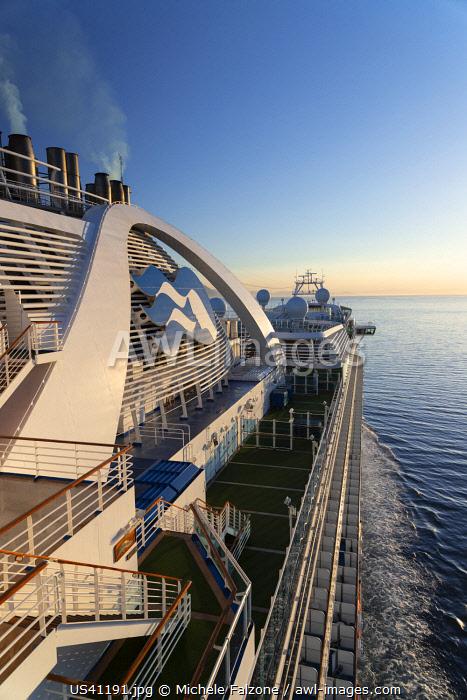 USA, Alaska, Cruise Ship Navigating Stephens Passage