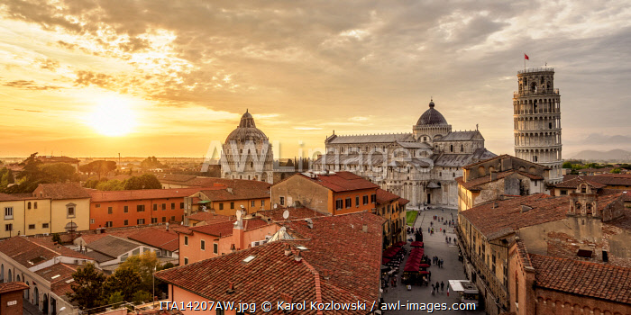 View over Via Santa Maria towards Cathedral and Leaning Tower at sunset, Pisa, Tuscany, Italy