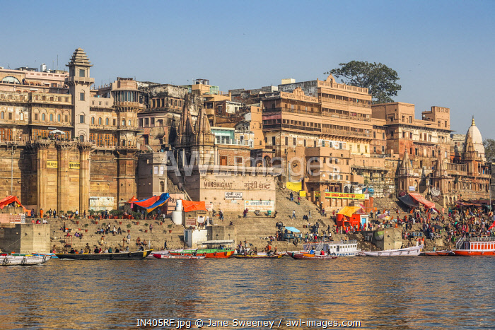 India, Uttar Pradesh, Varanasi, View towards Brijrama Palace Hotel at Darbanga Ghat