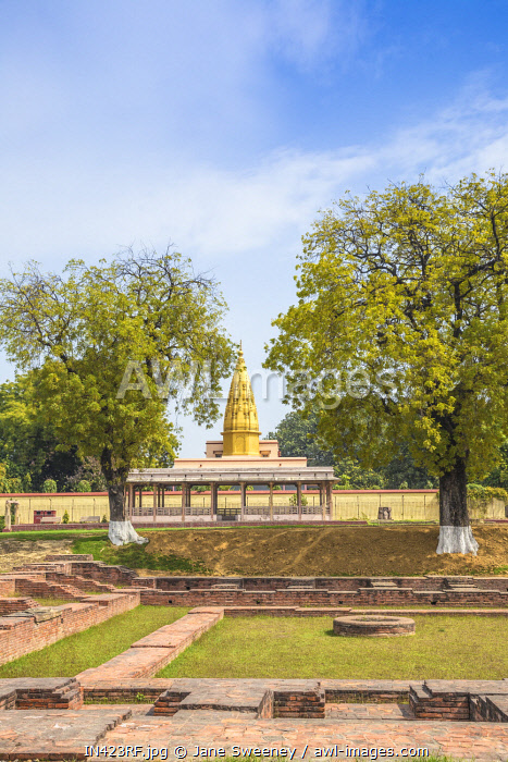 India, Uttar Pradesh, Sarnarth, near Varanasi, stupa at Dhamekh Stupa and ruins complex