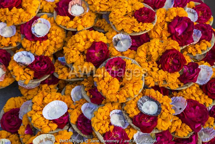 India, Uttar Pradesh, Varanasi, Flower offerings at Dashashwamedh Ghat - The main ghat on the Ganges River