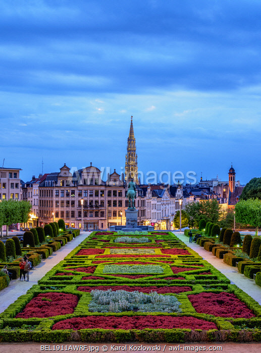 View over Mont des Arts Public Garden towards Town Hall Spire at dusk, Brussels, Belgium