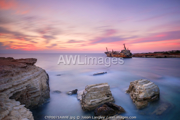 awl-images.com - Cyprus / The Edro III Shipwreck at sunset, near Peyia (Pegeia), Paphos District, Cyprus