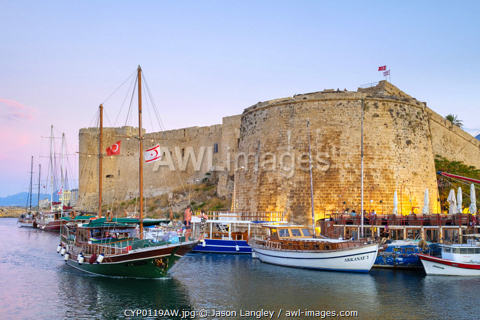 awl-images.com - Cyprus / Boats in front of Kyrenia Castle (Girne Kalesi) at sunset, Kyrenia (Girne), Kyrenia (Girne) District, Cyprus (Northern Cyprus).