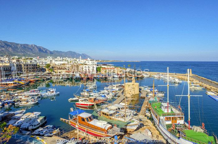Boast in Kyrenia Harbour, Kyrenia (Girne), Kyrenia (Girne) District, Cyprus (Northern Cyprus).