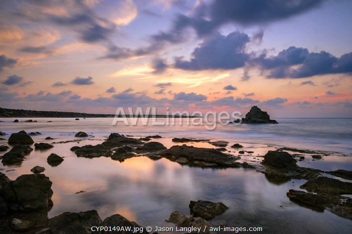 Laura Beach at sunset, near Peyia (Pegeia), Paphos District, Cyprus