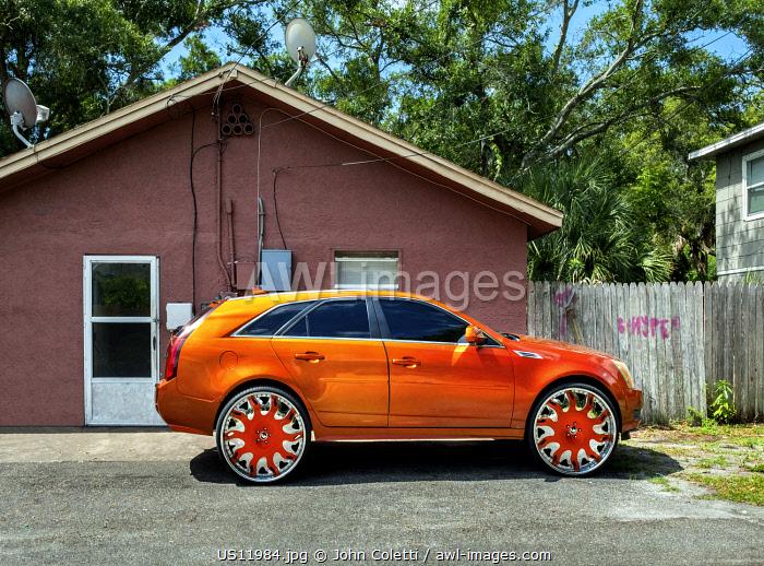 USA, Florida, Saint Petersburg, Big Wheel Custom Car, African-American Neighborhood, Cultural Phenomenon