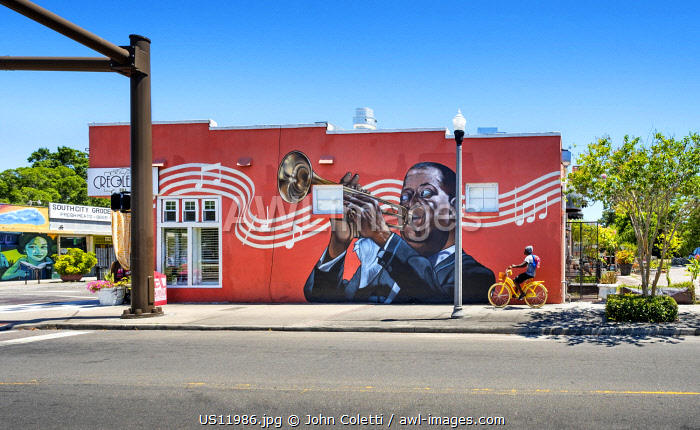 USA, Florida, Saint Petersburg, Louis Armstrong Wall Mural, Jazz Great, African-American Heritage Trail, The Deuces Neighborhood
