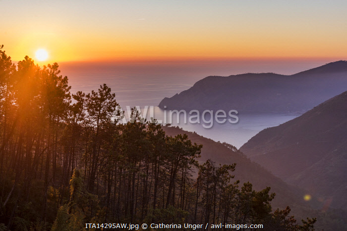 europe, Italy,Liguria. sunset over the Cinque Terre coast seen from  a street above Vernazza