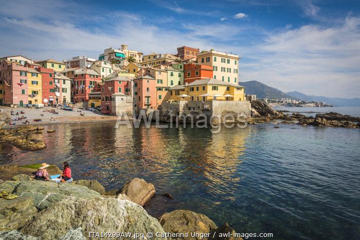 europe, Italy,Liguria. Genoa, the bay of Boccadasse