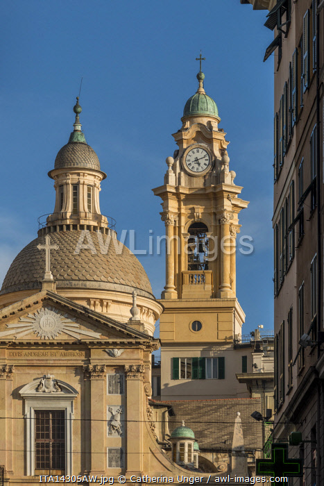 europe, Italy,Liguria. Genoa, view to the church of Jesus and the saints Ambrogio and Andrea
