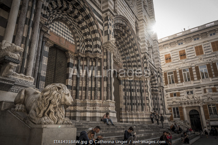 europe, Italy,Liguria. Genoa, the facade of the cathedral San Lorenzo