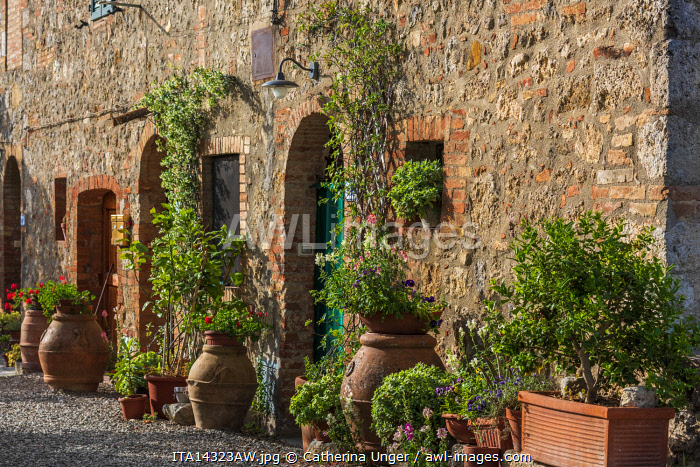Europe, Italy, Tuscany. Ville di Corsano. Beautifully decorated courtyard with terracotta flower pots