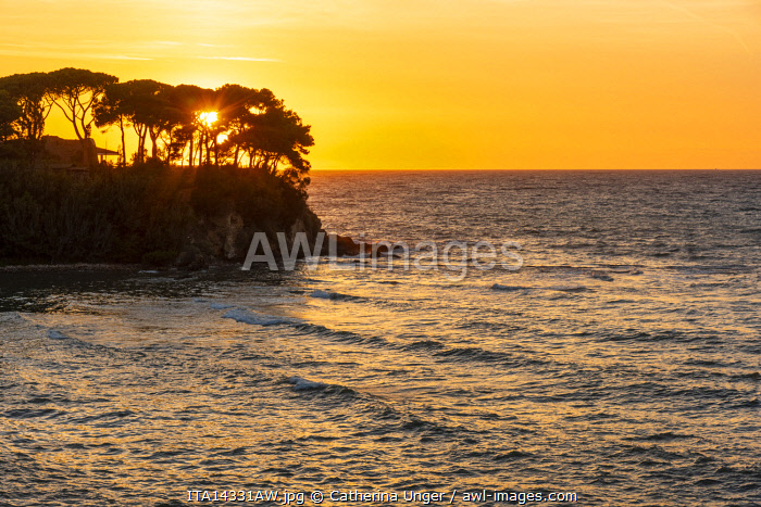 Europe, Italy, Tuscany. Sunset over the mediterranean sea at the Monte Argentario.