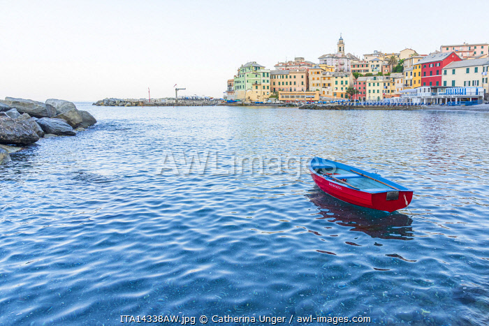 Europe, Italy, Liguria. Bogliasco, little harbour village near Genoa in  morning light.