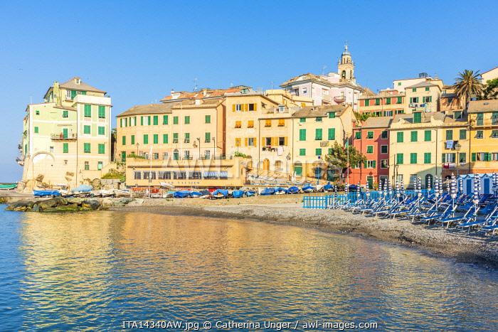 Europe, Italy, Liguria. A beach in Bogliasco, little colorful town, near Genoa.