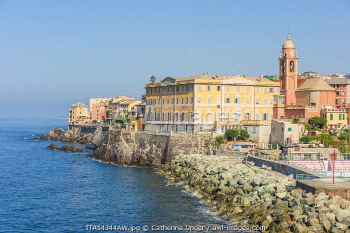 Europe, Italy, Liguria. The colorful little town of Nervi, part of Genoa.