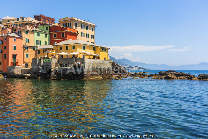 Europe, Italy, Liguria. Genoa, Boccadasse. The little harbour of the town.
