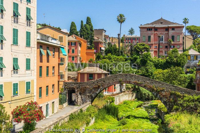 Europe, Italy, Liguria. Genoa, Nervi. An old bridge in the town.
