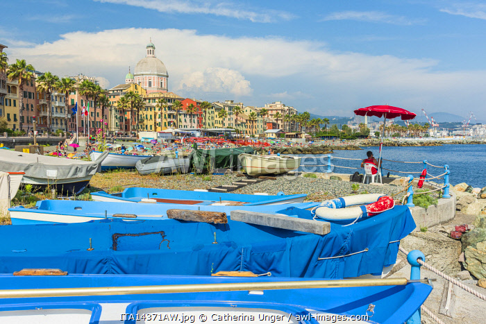 Europe, Italy, Liguria. Genoa, Pegli. The waterfront with its colorful facades.