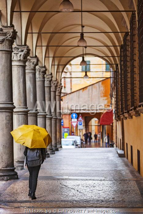 Typical Bolognese street arcade on the Via Galliera, Ghetto Ebraico, Bologna, Emilia Romagna, Italy.