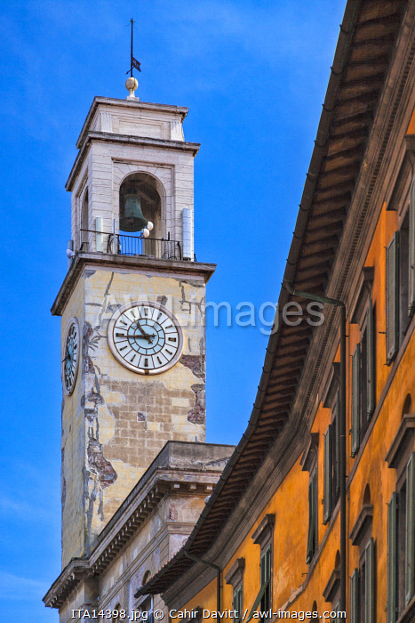 Close up view of  the bell tower of the Palazzo Pretorio designed by the architect Alessandro Gherardesca, Pisa, Tuscany, Italy.