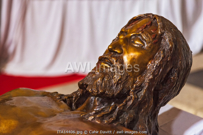 3d impression of the Body of Christ derived from scans of the Shroud of Turin in the interior of the Basilica di San Petronio, Piazza Maggiore, Bologna, Emilia Romagna, Italy.