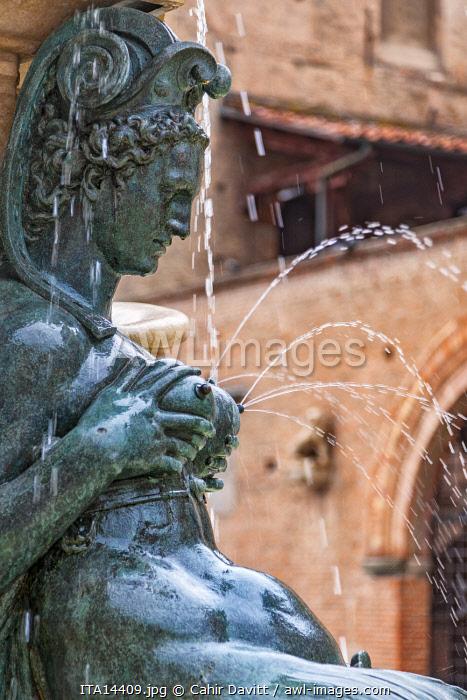 Detail of the Fontana del Nettuno, Piazza del Netunno, Bologna, Emigliana Romagna, Italy.
