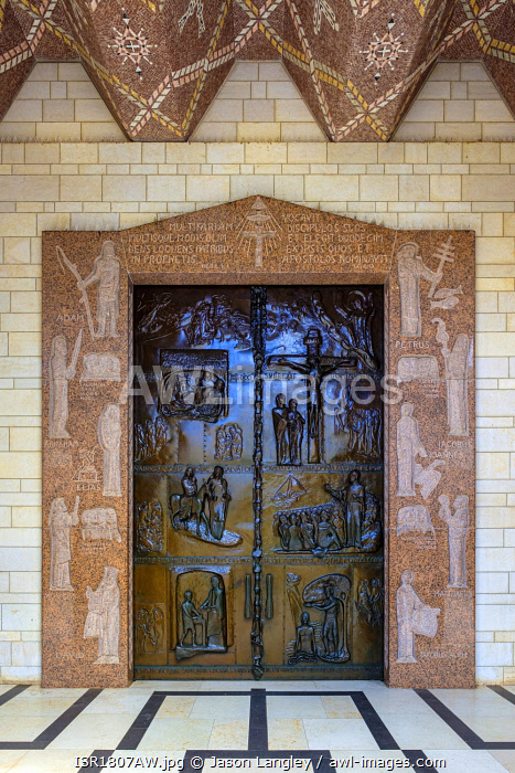 awl-images.com - Israel / Front door of the Church of the Annunciation, depicting major events in Jesus' life. Nazareth, North District, Israel.