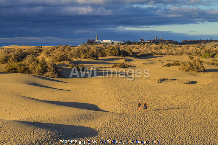 awl-images.com - Spain / Spain, Canary Islands, Gran Canaria Island, Maspalomas, Maspalomas Dunes National Park with visitor, NR