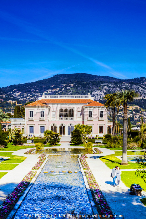 awl-images.com - France / France. French Riviera. St Jean Cap Ferrat. The majestic Villa Ephrussi de Rothschild and gardens.