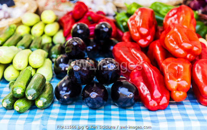 awl-images.com - France / France. French Riviera. Nice. Provencal products, peppers, aubergines and courgettes.