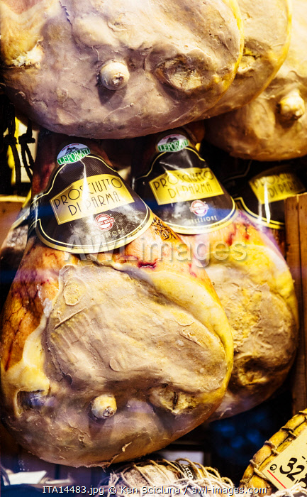 awl-images.com - Italy / Italy. Emilia Romagna. Parma.The traditional seasoned ham known as Prosciutto di Parma or Parma Ham.