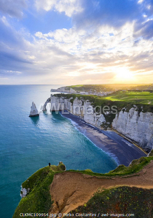 Sunrise over the cliff of Etretat, Octeville sur Mer, Le Havre, Seine Maritime, Normandy, France, Western Europe.