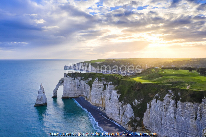 awl-images.com - France / Sunrise over the cliff of Etretat, Octeville sur Mer, Le Havre, Seine Maritime, Normandy, France, Western Europe.