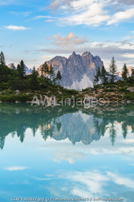 awl-images.com - Italy / Reflection of Cadini di Misurina on Sorapis Lake in summer. Cortina d'Ampezzo, Belluno province, Veneto, Italy.